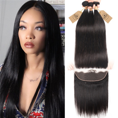 3 Bundles Straight Human Virgin Hair With Lace Frontal Closure