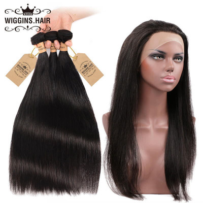 Brazilian Virgin 3pcs Straight Hair With 360 Lace Frontal Natural Hairline