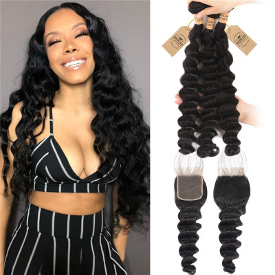 Loose Deep 3 Bundles With Lace Closure 4x4 Human Hair Extensions