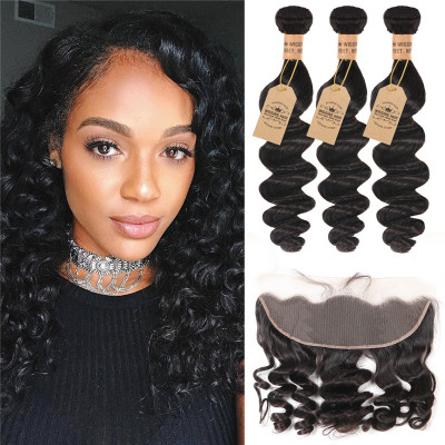 3 Bundles Loose Wave With Lace Frontal Closure Human Virgin Hair