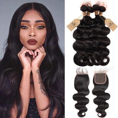 Brazilian Body Wave Weave Virgin Hair 4pcs With Lace Closure