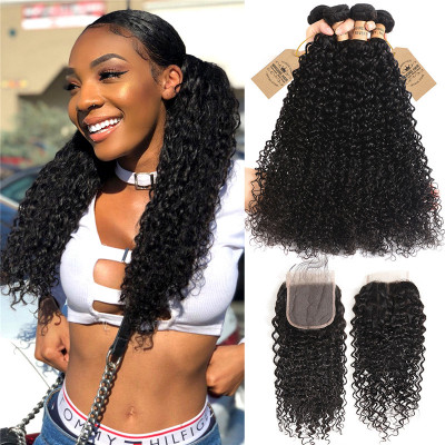Brazilian Virgin Hair 4pcs Curly Wave Human Hair With Lace Closure