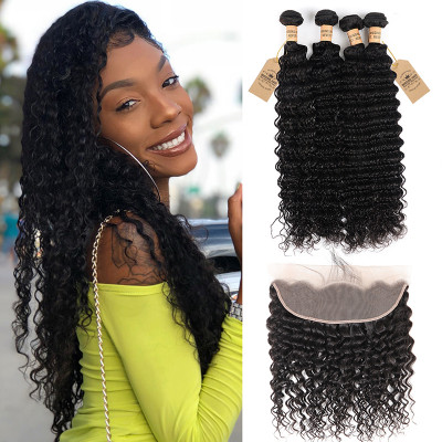 13×4 Lace Frontal Closures And Deep Wave Brazilian Hair 4pcs