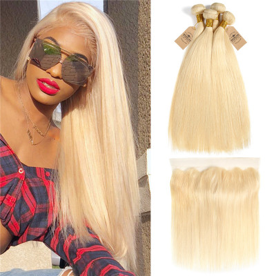 Brazilian Virgin Hair 613 Blonde Extensions Straight Hair With Lace Frontal