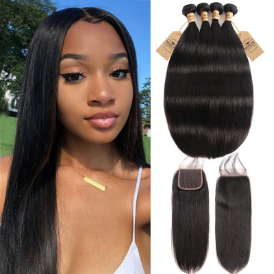 Brazilian Human Virgin Hair 4pcs Straight With 4*4 Lace Closure On Sale