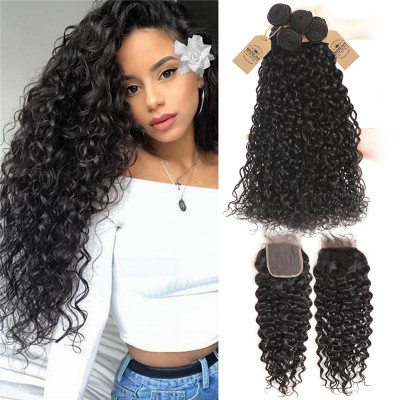 Brazilian Virgin Hair 4pcs Natural Wave With Lace Closure Water Wave