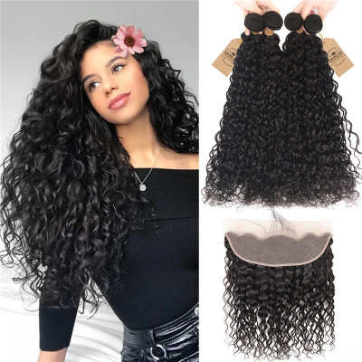 Brazilian Natural Wave Weave 4pc And 13*4 Lace Frontal Closures