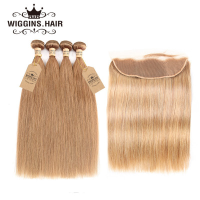 #27 Honey Blonde Straight 4 Bundles With 13*4 Lace Frontal